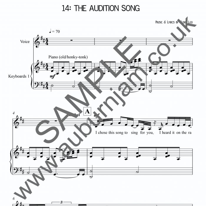 Song song sheet music : The Audition Song